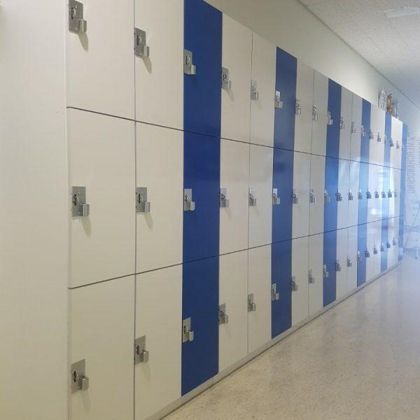 3단 화이트+블루 옷장, 사물함 (300*600*490)